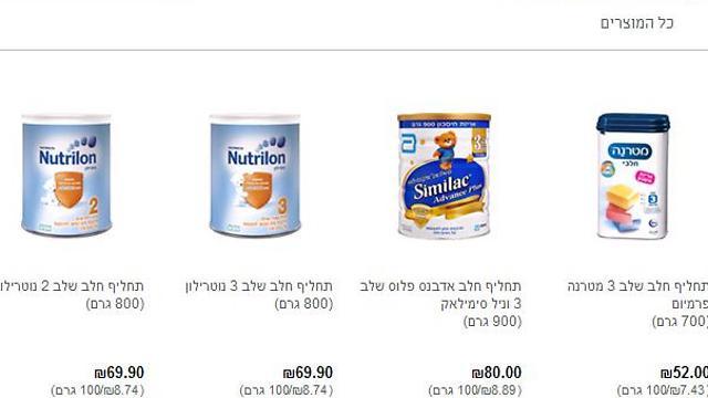 דוגמא למחירים (נמוכים יחסית) של שלוש החברות, מתוך אתר מיי סופרמרקט. שתיים מהן, מטרנה וסימילאק - שולטות בשוק. הוועדה מצאה כי למטרנה נתח שוק גדול מדי ()