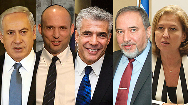 Netanyahu, Bennett, Lapid, Lieberman and Livni. 'Israel's politicians need to understand that the safety of their country must prevail over personal interests and partisan agendas' (Photos: Gil Yohanan, Shahar Azran, EPA, AP and GPO) (Photos: Gil Yohanan, Shahar Azran, EPA, AP and GPO)