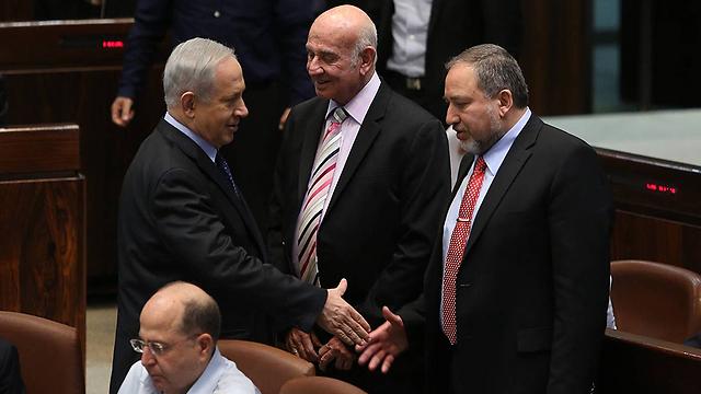 Netanyahu and Lieberman. 'Not ruling out Buji or Bibi' (Photo: Gil Yohanan) (Photo: Gil Yohanan)