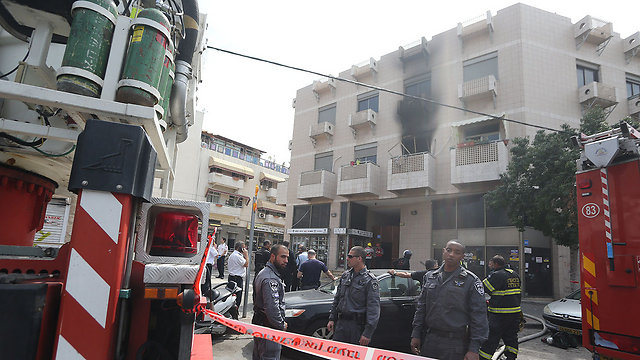 Emergency crews at the scene (Photo: Yaron Brenner)