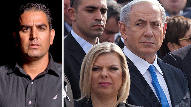 Meni Naftali, left, and Benjamin and Sara Netanyahu (Photos: Yuval Hen, AP)
