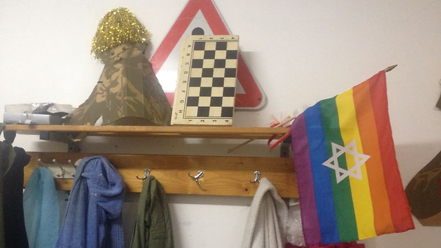 Pride flag in soldiers' room