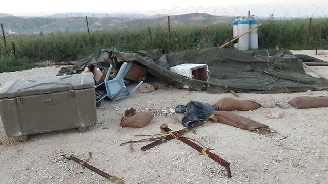 An IDF post in Yitzhar destroyed by Settlers (IDF Spokesmen's office) (Photo: IDF Spokesman)