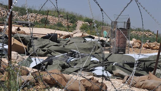 Destroyed IDF post at Yitzhar (Photo: George Ginsburg) (Photo: George Ginsburg)