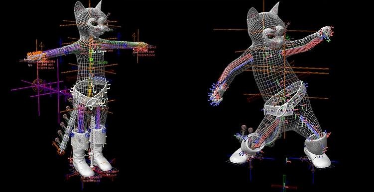 מתוך Puss in Boots, מבנה השלד והשרירים קובע כיצד הדמות תנוע (מתוך אתר החברה)