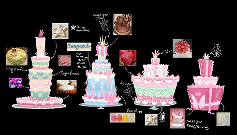 עיצוב קונספט של העוגה (איור: אבנר גלר © DreamWorks) (איור: אבנר גלר © DreamWorks)