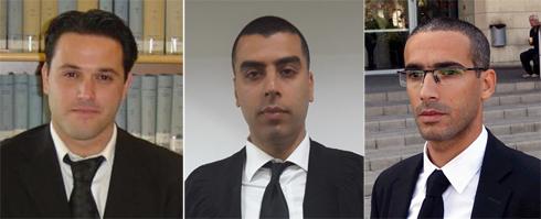 עורכי הדין שחר חצרוני, מחמוד נעמנה ויניב שגב (צילום: מוטי קמחי) (צילום: מוטי קמחי)