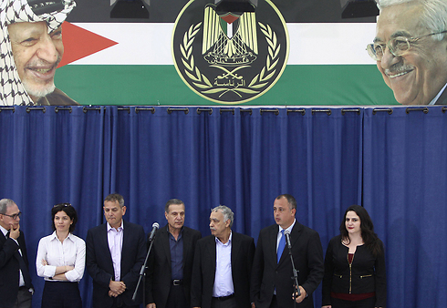 Israeli delegation in Ramallah (Photo: AFP)