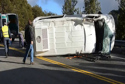 Overturned bus in Argentina
