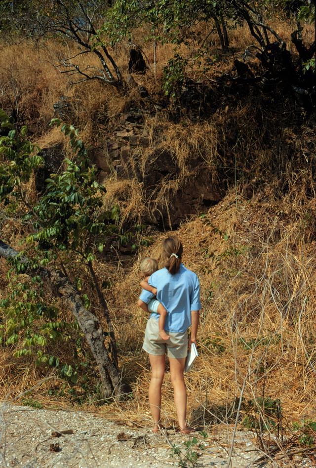 """ג'יין ובנה הוגו בתצפית על קופי שימפנזה. (צילום: באדיבות מכון ג'יין גודאל /  יח""""צ הסרט Jane's Journey, 2011) ()"""