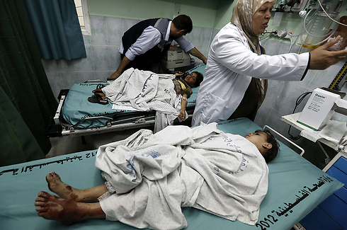 Wounded Palestinian children - IAF strike in GAZA