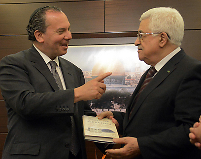 Rabbi Schneier with Abbas. 'He immediately told me that he sees the Holocaust as the biggest tragedy of the modern era' (Photo: Sasson Tiram)
