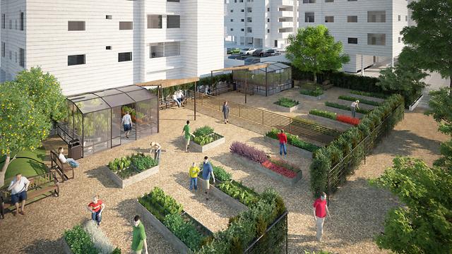 רוצים כזו גינה ירוקה בבניין שלכם? (צילום: באדיבות Melion Visualization Studios)