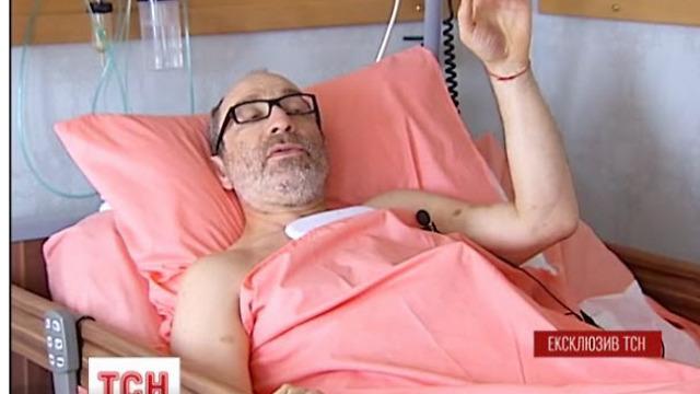 Mayor of Kharkiv Gennady Kernes in his hospital bed in Haifa
