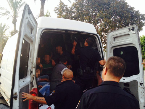 Palestinians in the back of the van (Photo: Israel Police)