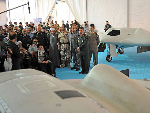 Supreme Leader Ayatollah Khamenei examining latest Iranian drone (Photo: AFP)