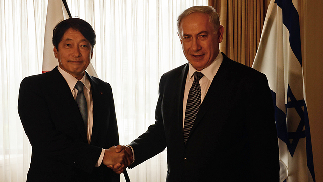Japanese Defense Minister Itsunori Onodera with Netanyahu during his State visit. (Photo: Photo: GPO, Kobi Gideon) (Photo: Photo: GPO, Kobi Gideon)