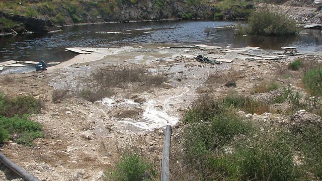 המים המזוהמים מוזרמים למאגר  (צילום: ניצן מתן, באדיבות עמותת צלול) (צילום: ניצן מתן, באדיבות עמותת צלול)