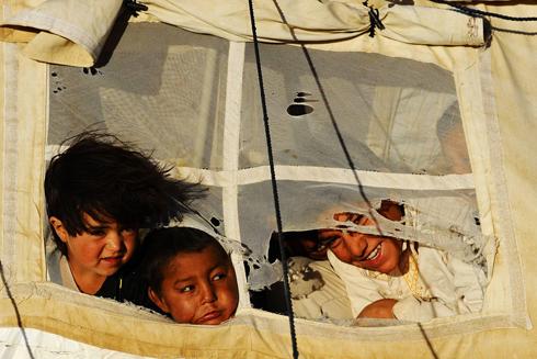 ילדים עקורים בפאתי הראט, אפגניסטן (צילום: AFP) (צילום: AFP)