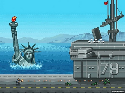 פסל החירות בדרכו למצולות ()