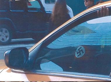 Photo sent to the Anti-Defamation League of Diaz wearing Nazi armband (Photo: ADL)