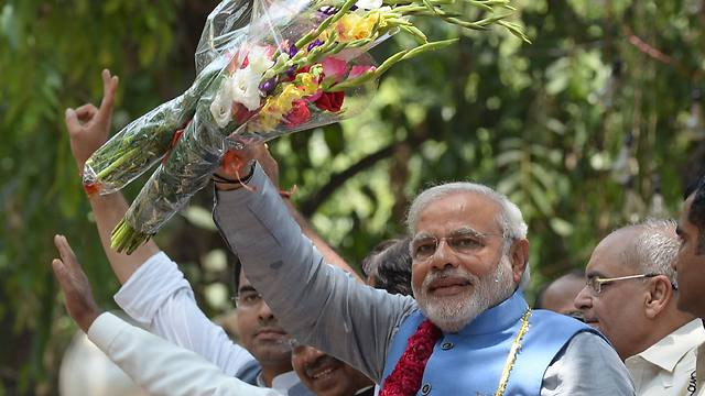 ראש ממשלת הודו נרנדרה מודי אחרי ניצחונו בבחירות (צילום: AFP) (צילום: AFP)