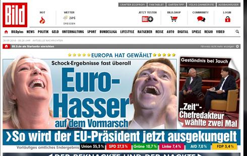 """כותרת """"הבילד"""" הגרמני: """"שנאה אירופית צועדת לניצחון"""" ()"""