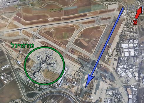המסלול החדש מסומן בחץ הכחול (צילום: רשות שדות התעופה) (צילום: רשות שדות התעופה)