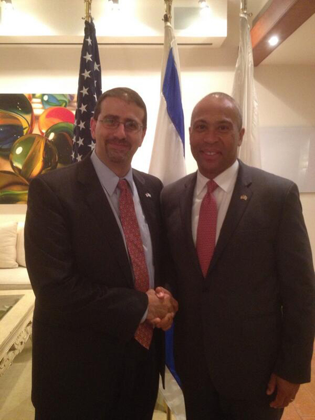US Ambassador to Israel Shapiro with MA Governor Patrick (Screenshot: US Embassy's Twitter)