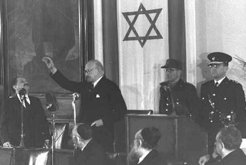 """חיים ויצמן מושבע לנשיא הראשון של מדינת ישראל (צילום: דוד אלדן, לע""""מ) (צילום: דוד אלדן, לע"""
