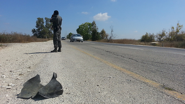 Rocket shell on Road 232 (Photo: Barel Efraim)