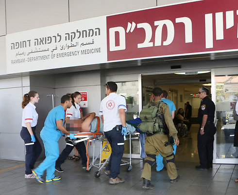 Evacuating the wounded (Photo: Rambam Medical Center)