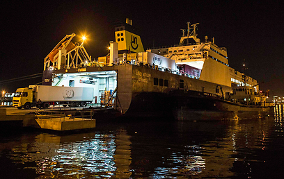 Goods unloading in Port of Haifa (Photo: Reuters)