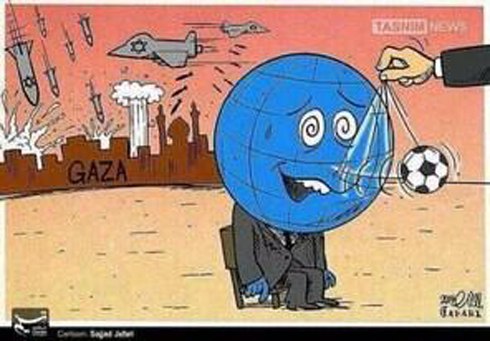 Gaza caricature: Arabs watch World Cup as Israel bombs Gaza