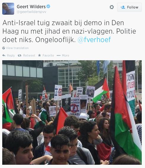 צלבי קרס בהפגנה בהולנד. מתוך הטוויטר של חרט וילדרס ()