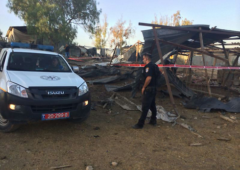 Damage caused by rocket near Be'er Sheva (Photo: Police)