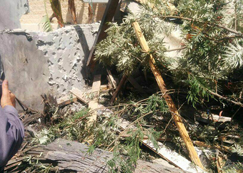 Damage caused to the house Lieberman visited (Photo: Police Spokesman)