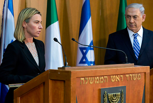 EU foreign policy chief Mogherini and Prime Minister Netanyahu in joint press conference (Photo: AP)