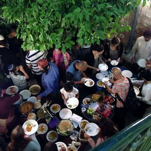 Mount Zion gathering of Jews and Muslims breaking fast together