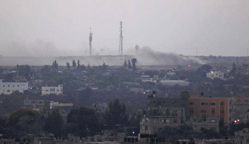 צילום מהצד העזתי: אזור כרם שלום, הבוקר ()
