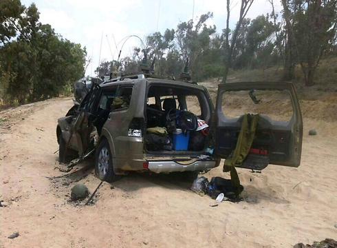 Patrol jeep destroyed after Hamas infiltration