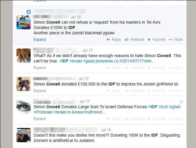 ציוצים נגד סיימון קאוול