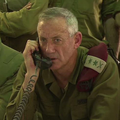 Then-IDF chief of staff Benny Gantz on the Gaza border during the 2014 war  (Photo: IDF Spokesperson's Unit)