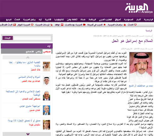 Mohammed al-Sheikh's surprising article. 'Peace with Israel is the solution'