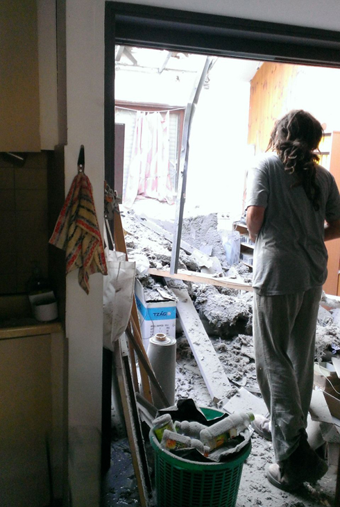 Rocket strike on a house in Eshkol (Photo: Eshkol Regional Council)  (Photo: Eshkol Regional Council)