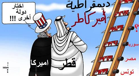 """קריקטורה ערבית: ארה""""ב מבקשת מקטאר לבחור את המדינה הבאה בסולם שבה תיכפה """"דמוקרטיה"""", שתביא בפועל לשפיכות דמים. על הסולם: תוניסיה, מצרים וסוריה - ומי הבאה בתור? ()"""