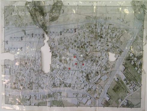 מפה של פעיל חמאס ועליה סימון של פירי מנהרות ()
