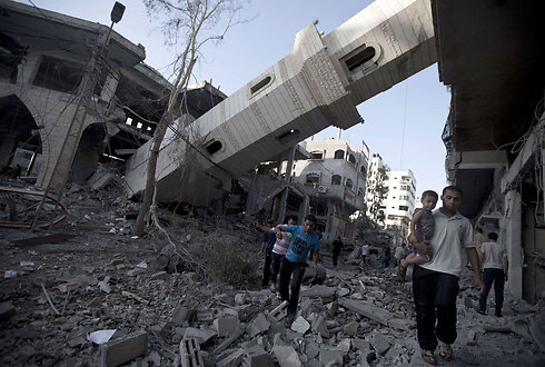 A mosque destroyed at Al-Shati refugee camp (Photo: AFP)