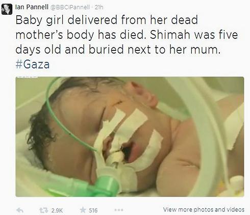 """כתב BBC, איאן פאנל, """"מצייץ"""" על מות התינוקת ()"""