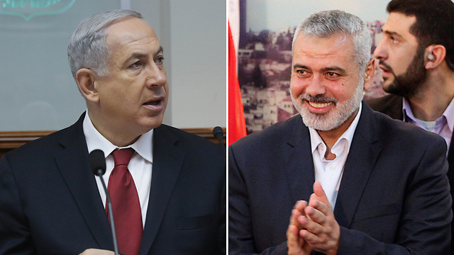 Prime Minister Netanyahu / Hamas' Ismail Haniyeh (Photo: EPA / Mark Israel Selem)
